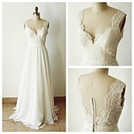 A-line Wedding Dress - Ivory Court Train Straps Chiffon
