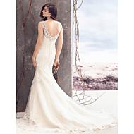 Lanting Bride® Sheath / Column Wedding Dress Court Train Bateau Lace / Tulle with Appliques / Button