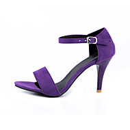 Women's Shoes Velvet / Fabric Stiletto Heel Heels / Open Toe Sandals Office & Career / Dress / Casual Black / Green