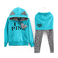 Lány Letter Nyomtatás Leopard Illesztés ruházati készletek