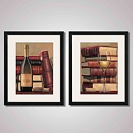 Framed  Abstract Wine Bottle and Books Vintage Canvas Print Art for Bedroom Decoration 40x50cmx2pcs Ready To Hang