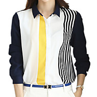 Overhemdkraag - Polyester / Spandex / Overige - Met ruches - Vrouwen - Overhemd - Lange mouw