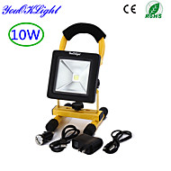 YouOKLight® 1PCS IP44 10W 850lm 6000K White LED Flood Light Rechargeable - Black + yellow (AC85~265V )