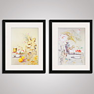 Framed  Chinese  Painitng Still Life Picture Print on Canvas Modern Asian Art Set of 2 Ready To Hang