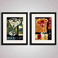 Framed  Abstract Cups and Fruit Juice  Canvas Print Art for  Home Decoration 40x50cmx2pcs Ready To Hang