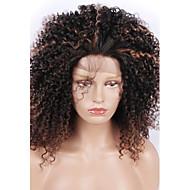 Art und Weise synthetische Perücken schnüren sich vordere Perücken verworrene lockige schwarze und braune hitzebeständige Haarperücken