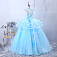 저녁 정장파티 드레스 - 스카이 블루 A-라인 바닥 길이 쥬얼리 튤