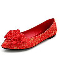 Women's Wedding Shoes Ballerina / Round Toe / Closed Toe Heels Wedding Red