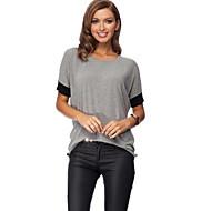 Women's Color Block Black / Gray T-shirt , Round Neck Short Sleeve