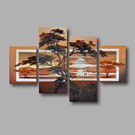 "Ready to Hang Stretched Hand-Painted Oil Painting 64""x44"" Four Panels Canvas Wall Art Modern Trees Landscape"