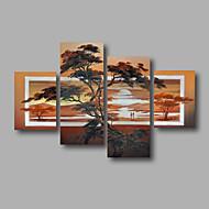 Kézzel festett Absztrakt / Landscape / Absztrakt tájképModern Négy elem Vászon Hang festett olajfestmény For lakberendezési