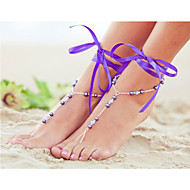 2Pcs  Ribbon Ankle Chain Barefoot Sandals Beach Wedding Foot Jewelry  Ankle Bridal Bracele Bridesmaid Barefoot Jewelry