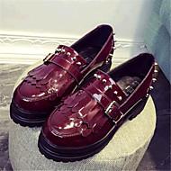 נעלי נשים-מוקסינים-דמוי עור-קריפרס-שחור / בורגונדי-שטח / קז'ואל-פלטפורמה