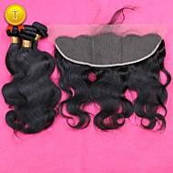 slove 7a pelo del oído para el cierre frontal del cordón del oído con la onda de los haces cuerpo pelo virginal peruano con cierre frontal