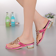 Women's Shoes Leather Chunky Heel Toe Ring / Mary Jane Sandals Party & Evening / Dress / Casual Pink / Gold