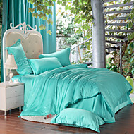 Green 100% Tencel Soft Bedding Sets Queen King Size Solid color Duvet Cover Set