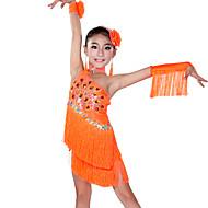 Latin Dance Outfits Children's Performance Spandex Tassel(s) 5 Pieces Fuchsia / Green / Orange / Royal Blue / White