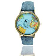 2016 top brand luxury men women World map airplane needle Watches Women Men Denim canvas with leather quartz Wrist Watch Cool Watch Unique Watch