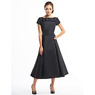 A-라인 종아리 길이 태피터 칵테일 파티 드레스 와 단추 드레이핑 으로 TS Couture®