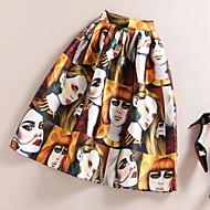 Women's Print Yellow Skirts,Street chic Midi