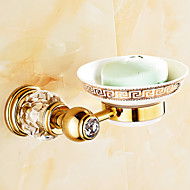 Neoclassical Antique Copper Wall Mounted Crystal and Gold Bathroom Soap Dish