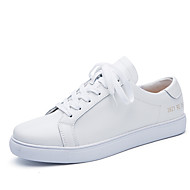 Women's Shoes Cowhide Flat Heel Comfort Fashion Sneakers Outdoor / Dress / Casual Black / White