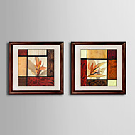 Floral/Botanical Framed Canvas / Framed Set Wall Art,Wood Red Mat Included With Frame Wall Art