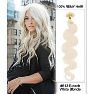 20inch # 613 קצה ציפורן בלונדינית גוף לבן אקונומיקת גל u להטות 100% שיער רמי שיער קרטין רחבות-100 גדילים, 0.5g / גדיל