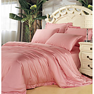 Pink 100% Tencel Soft Bedding Sets Queen King Size Solid color Duvet Cover Set