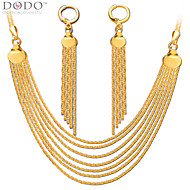 Luxury Chains Necklace Long Tassel Earring Jewelry Set 18k Gold Plated Chain Necklace Earrings Bridal Gift NB60078