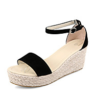 Women's Shoes Fleece Wedge Heel Wedges / Comfort / Ankle Strap / Open Toe Sandals Dress / Casual Black / Beige