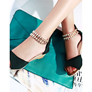 נעלי נשים - סנדלים - פליז - נעלים עם פתח קדמי - שחור / ירוק / כתום - משרד ועבודה / שמלה / קז'ואל - עקב וודג'