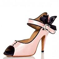 Customizable Women's Dance Shoes Latin / Jazz / Swing Shoes / Salsa / Samba Satin Customized Heel Pink / White