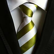 עניבה - פסים ( ירוק / לבן , פוליאסטר )