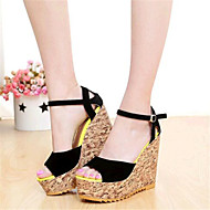 Women's Shoes Tulle / Leatherette Wedge Heel Wedges Sandals Casual Black / Blue / Red