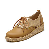 Women's Shoes Leatherette Flat Heel Round Toe Oxfords Outdoor / Athletic / Casual Brown / Yellow / Pink / White