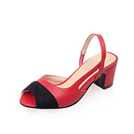 Women's Shoes  Chunky Heel Heels / Peep Toe Sandals Outdoor / Office & Career / Dress Black / Red / Beige