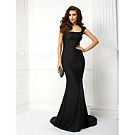 Evento Formal / Festa de Gala Black-Tie Vestido - Costas Lindas Sereia Decote em U Cauda Corte Microfibra Jersey com Renda