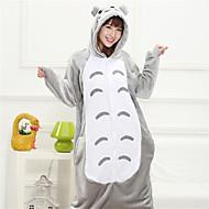 Chubby Totoro Grey Coral Fleece Kigurumi Pajamas Cartoon Sleepwear Animal Halloween Costume