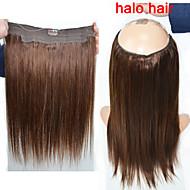 nova 100g moda / saco de longa aleta cabelo humano em linha reta em extensões do cabelo cabelo linha de peixes de halo tecendo 4 # marrom