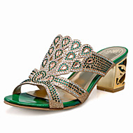 Women's Shoes Heel Heels / Peep Toe Sandals / Heels / Clogs & Mules Outdoor / Dress / Casual Green / Gold