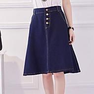 Women's Solid Blue Skirts Knee-length