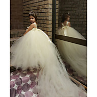 Ball Gown Court Train Flower Girl Dress - Tulle / Polyester Sleeveless Spaghetti Straps with
