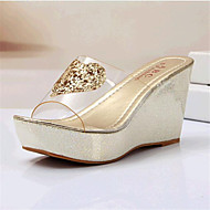 Women's Shoes Leatherette Wedge Heel For Casual Outdoor Silver Golden