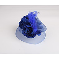 Women's Flower Girl's Feather Fabric Net Headpiece-Wedding Special Occasion Casual Fascinators 1 Piece
