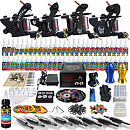 Solong Tattoo Complete Tattoo Kit 4 Pro Machine s 54 Inks Power Supply Foot Pedal Needles Grips Tips TKD02