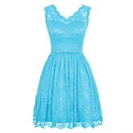 Cocktail Party Dress Ball Gown V-neck Knee-length Lace / Charmeuse with Beading / Lace