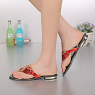 Women's Shoes Leather Chunky Heel Toe Ring / Mary Jane Sandals Party & Evening / Dress / Casual Red / Silver / Gold