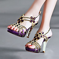 Women's Shoes Heel Heels / Peep Toe / Platform Sandals / Heels Party & Evening / Dress / Casual Purple / Silver/7034