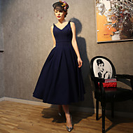 Cocktail Party Dress-Dark Navy A-line Spaghetti Straps Tea-length Satin / Taffeta / Polyester